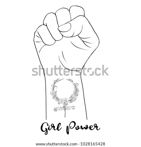 Womans Hand Fist Raised Freedom Sign Stock Vector Royalty Free