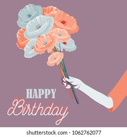 Woman's hand holding the bouquet of poppies. Vector illustration of red and blue poppies on violet background. Happy Birthday.