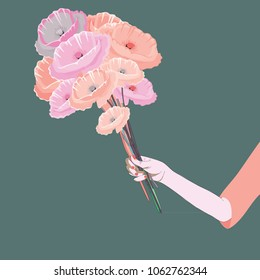 Woman's hand holding the bouquet of poppies. Vector illustration of pink and orange poppies on green background.