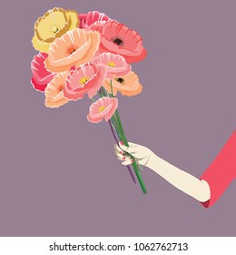 Woman's hand holding the bouquet of poppies. Vector illustration of pink, red and orange poppies on violet background.