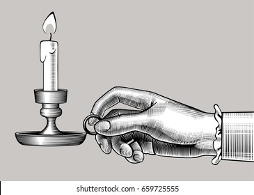 Woman's hand holding a candlestick with burning candle. Vintage engraving stylized drawing. Vector illustration