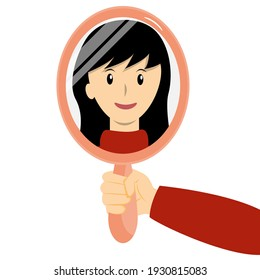 Woman's hand holding mirror reflexing her beautiful face cartoon vector.
