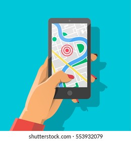 Woman's hand holding phone with map and marker. Mobile gps navigation and tracking concept. Flat vector cartoon illustration for web sites, banners. Location track app on touch screen smartphone