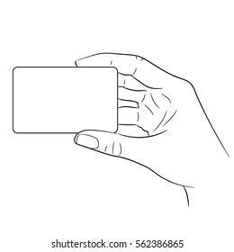 woman's hand holding a plastic card on white background of vector illustrations
