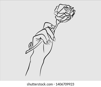 woman's hand holding rose flower.beautiful blackwork tattoo design.High-detailed vector artwork isolated.