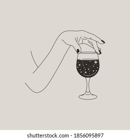 Woman's Hand Holds a glass of Wine Space Stars in a Minimal Style . Vector Fashion Illustration of the female body in a trending linear style. Fine art for posters, tattoos, store and Bar logos