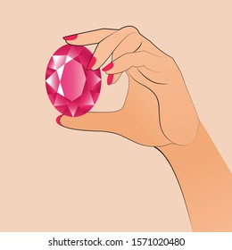 a woman's hand holds a huge red oval gemstone. the stone is like a ruby, a pink sapphire. vector illustration. EPS 10.