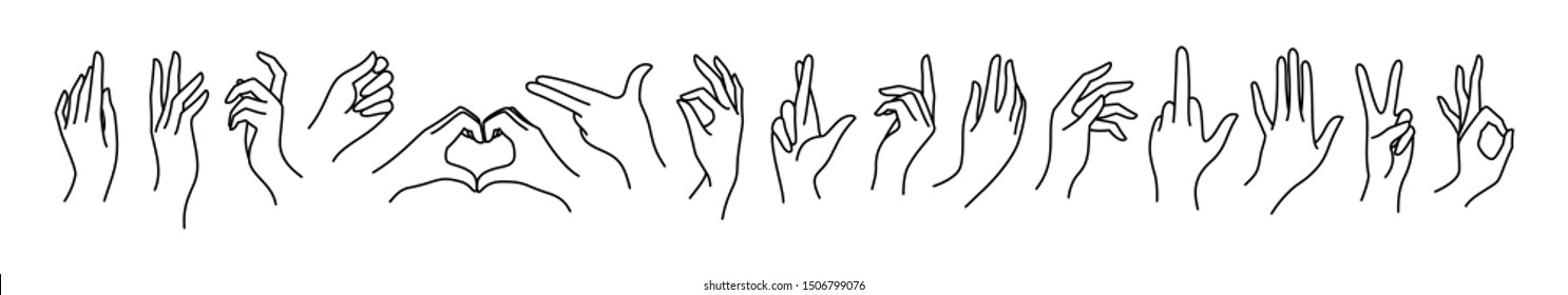 Woman's hand icon collection line. Vector Illustration of female hands of different gestures - peace, okay, symbol Gun, Fuck You, Lucky, heart. Lineart in a trendy minimalist style.