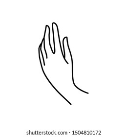 Woman's hand icon line. Vector Illustration of female hands of different gestures. Lineart in a trendy minimalist style.