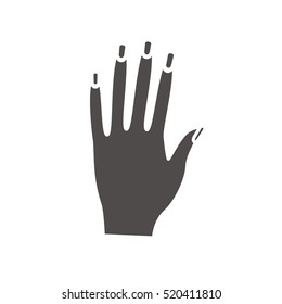 Woman's hand with manicure icon. Drop shadow silhouette symbol. Manicure saloon. Negative space. Vector isolated illustration