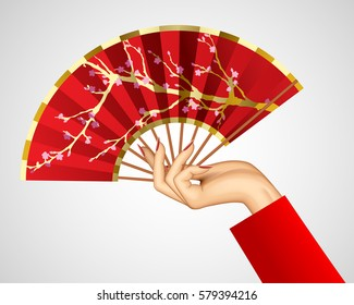 Woman's hand with open chinese red fan isolated on white. Vector illustration