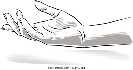 Woman's hand open, ready to welcome.
