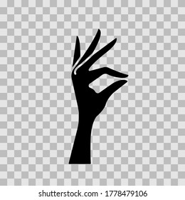 A woman's hand pinches something. Gesture, pinching with two fingers. Vector illustration, flat design, black silhouette isolated on white background, eps 10.