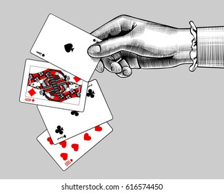Woman's hand with playing cards fan. Vintage engraving stylized drawing. Vector illustration