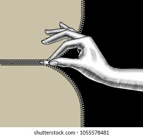 Woman's hand zipped up with pinch fingers the slide fastener. Vintage stylized drawing. Vector illustration
