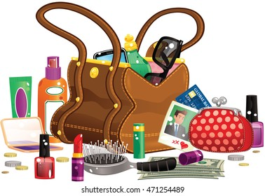 Woman's handbag and contents.