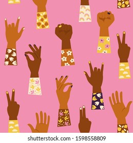 Woman's hands with her fist raised up and with various hands gestures. Girl Power. Feminism concept. Seamless pattern.