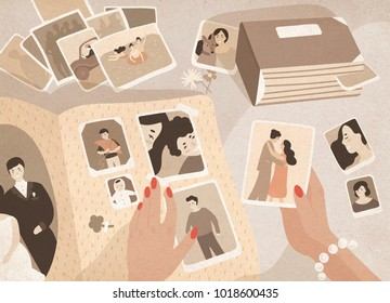 Woman's hands holding old photographs, sorting them out and attaching to pages of photographic album or photo book. Keeping in order pictures with family memories. Colored cartoon vector illustration.
