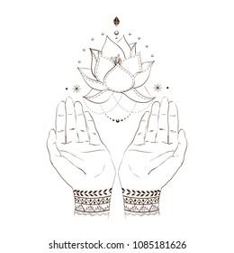 Woman's hands with mehendi design and soaring Lotus flower. Hindu motifs. Outline hand drawn illustration. Concept women's health, gratitude, spirituality etc.