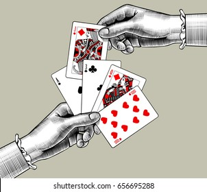 Woman's hands with playing cards fan. Vintage engraving stylized drawing. Vector illustration