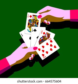 Woman's hands with playing cards fan. Pop art stylized drawing. Vector illustration