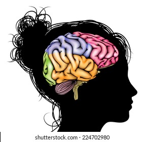 A womans head in silhouette with a sectioned brain. Concept for mental, psychological, brain development, learning and education or other medical theme