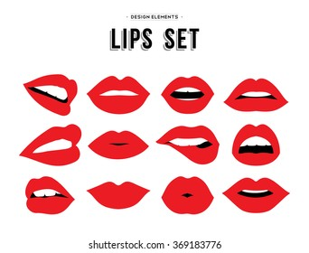 Woman's lip gestures set. Girl mouths close up with red lipstick makeup expressing different emotions. EPS10 vector.