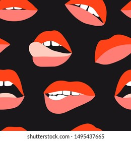 Woman's lip seamless pattern. Girl mouths with red lipstick makeup expressing different emotions. Sexy mouth kissing. Vector texture for valentines day. Hand drawn female beautiful illustration