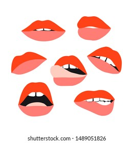 Woman's lip set. Girl mouths with red lipstick makeup expressing different emotions. Sexy mouth kissing. Vector collection for valentines day. Hand drawn set. Female beautiful illustration
