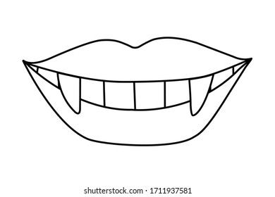 Woman's lips contour isolated on white. Smile of a vampire with fangs. Hand drawn clipart. Picture in a trendy minimalism style.