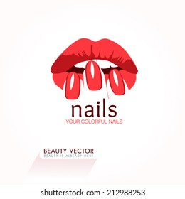 Woman's lips & nails silhouette illustration. Vector Icon business sign template for Beauty Industry, Nail Salon, Beauty Salon, Manicure, Spa Boutique, Cosmetic procedures, Cosmetic labeling. Editable