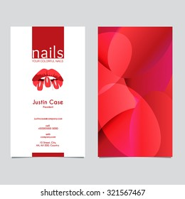 Woman's lips nails silhouette vector icon & business card template. Business sign for beauty industry, manicure, spa boutique, nail salon, cosmetic package labeling & procedures. Layered, editable