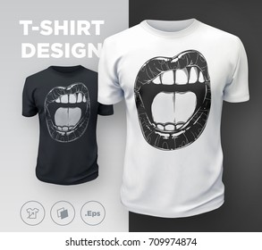 Woman's lips t-shirt print. Black and white girl's sexy mouth close up. Vector illustration
