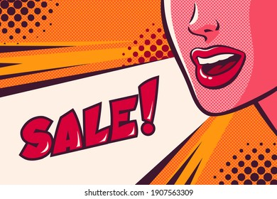 Woman's mouth talking, shouting and sale speech bubble. Face close-up. Advertisement poster. Comic vector illustration on pop art background.