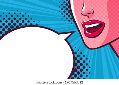 Woman's mouth talking, smiling and empty speech bubble. Face close-up. Comic vector illustration on pop art background.