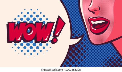 Woman's mouth talking, smiling and speech bubble with wow word. Face close-up. Comic vector illustration on pop art background.