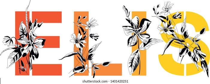 Woman's name Elis. Font composition named ELIS. Decorative floral font. Typography in the style of art nouveau, modern, vintage.