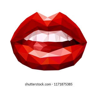 Woman's open mouth with sexy red lips and tongue formed by abstract triangles. Vector illustration.
