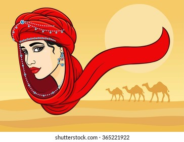 The woman's portrait in a turban. Background desert.