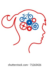Woman's silhouette with bicycle mechanism in her brain