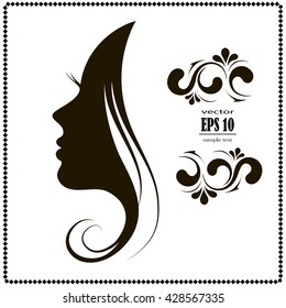 woman's silhouette, hair, beautiful icon, a woman's face in profile, style and fashion, youth