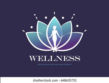 Woman's silhouette in Lotus flower, Wellness, Spa, Healing Logo template