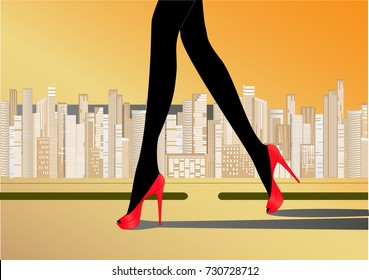 woman's slender legs in red high-heeled shoes walk on the road against the yellow background of skyscrapers