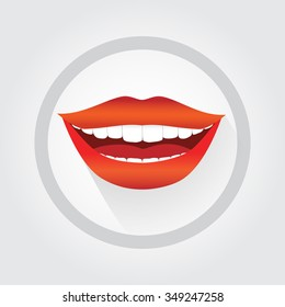 Woman's smile symbol. Vector cartoon style communication symbol. Contact us icon, on-line service icon. Big smile, red lipstick, white teeth.