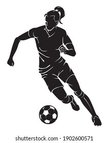 Woman's Soccer, Front View Sport Silhouette