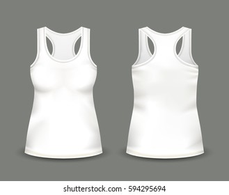 Woman's white sleeveless tank top in front and back views. Vector illustration with realistic male shirt template. Fully editable handmade mesh. 3d singlet used as mock up for prints or logo design.