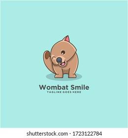 wombat animal logo design cartoon cute illustration