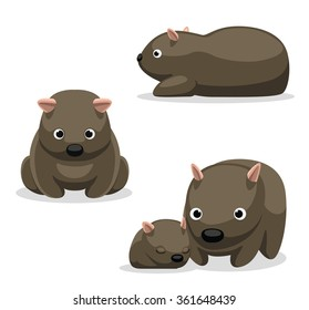 Wombat Cartoon Vector Illustration 2