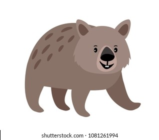 Wombat cute grey spotted animal icon isolated on white background