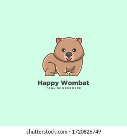 wombat cute logo design cartoon animal ilustration